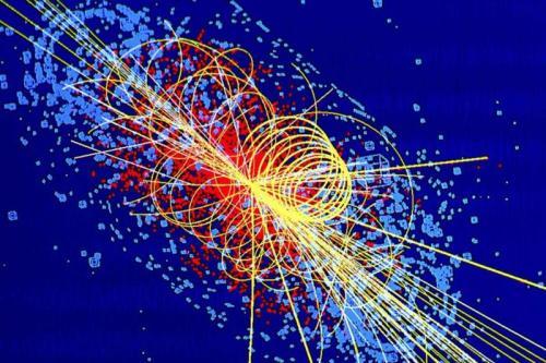 Simulation d'une collision de particules dans laquelle un boson de Higgs est produit (Image: Lucas Taylor/CMS)